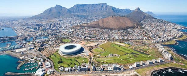 Aerial shot of Cape Town South Africa