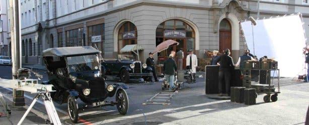 vintage car film shoot
