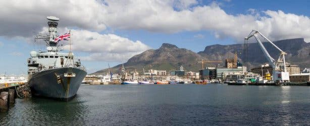 ship at v&a waterfront with devils peak in the back