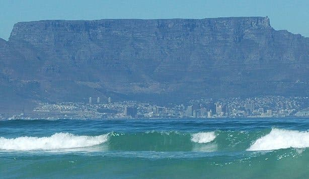 Table Mountain and Cape Town from Ocean
