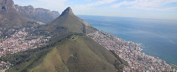 Aerial side view of Lions Head Mountain ocean city