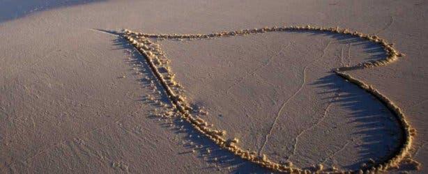 beach sand water heart