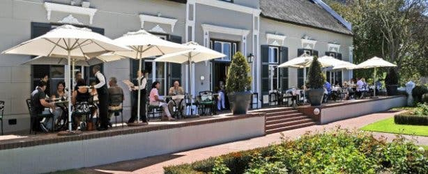Terrace of Grande Roche Hotel in Paarl Winelands