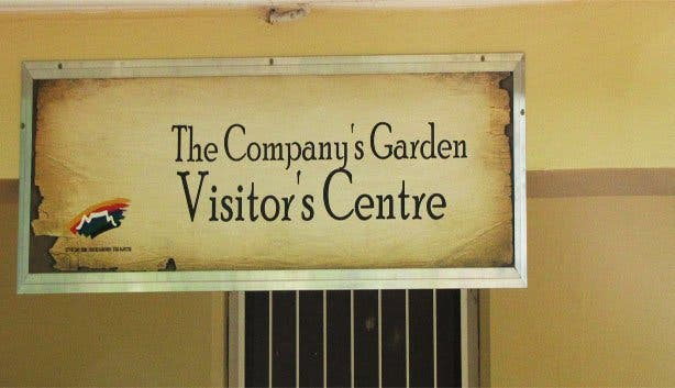 Company Gardens visitors centre sign