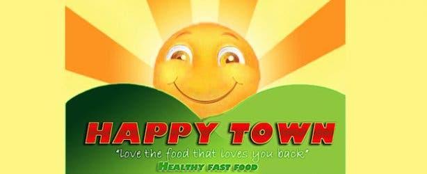 Happytown Healthy Fast Food Restaurant Logo
