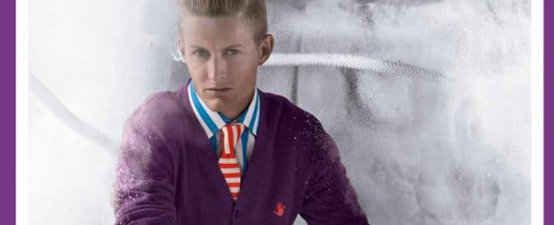 46664 fashion guy with purple cardigan