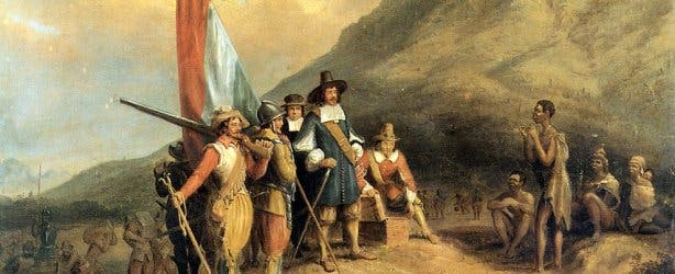 Jan van Riebeeck plants flag