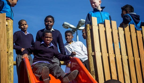Blind-Friendly Outdoor Park Slide and Children