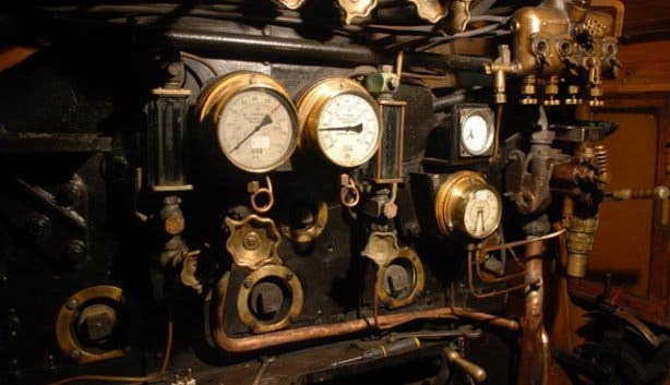 Atlantic Rail Steam Train copper gauges
