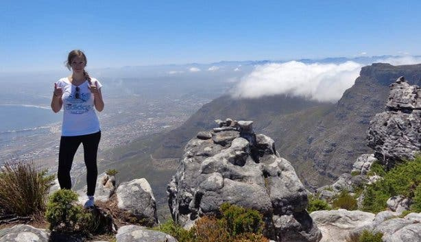 Laura Otto hiking on Table Mountain