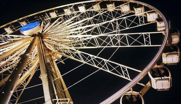 waterfront wheel at night