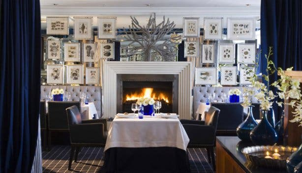 Azure Restaurant with a Fireplace