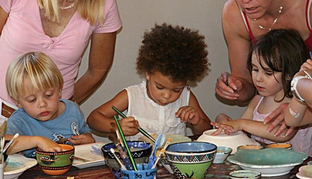 Clay Cafe children painting