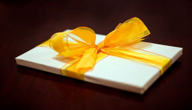 Present yellow Ribbon