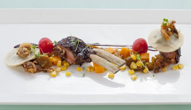 Lamb chop main at Crystal Towers fine dining