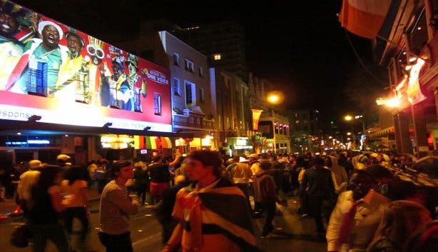 long street crowded nightlife