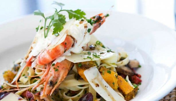 Seafood pasta for dinner at Tobago's at RadissonBlu