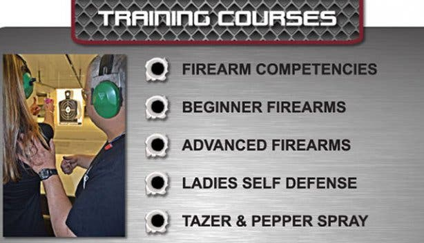 Rifle and firearm training at gun fun shooting alley