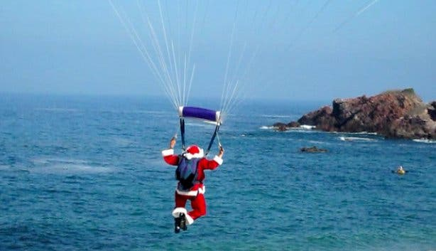 Paragliding Father Christmas