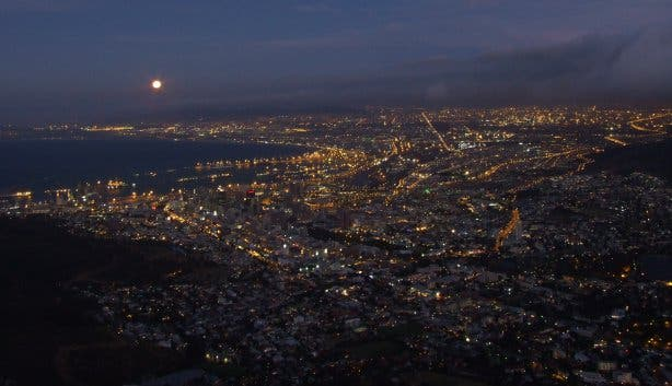 full moon cape town by night