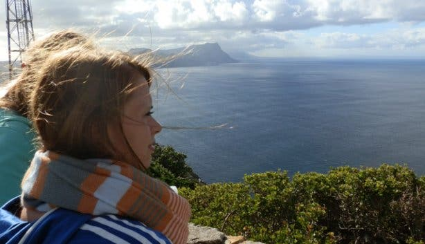 Ellen looking out over a Cape Point vista in South Africa