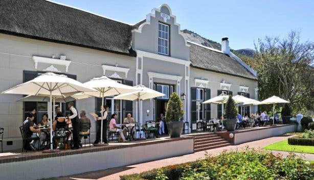 Terrace of Grande Roche Hotel in Paarl Winelands