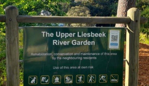 Upper Liesbeek River Garden Newlands Cape Town sign