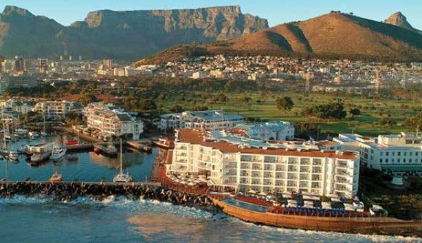 Aerial view of the Radisson Blu Waterfront Cape Town