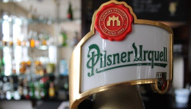 Pilsner Urquell on tap at Cafe Extrablatt