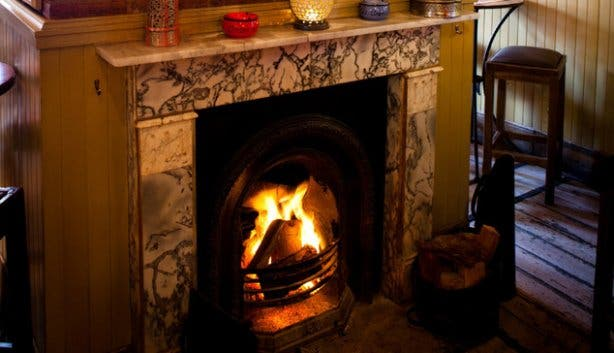Winter specials in front of the fireplace at Ricks