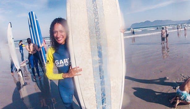 Surfing lessons with VACorps summer student internship