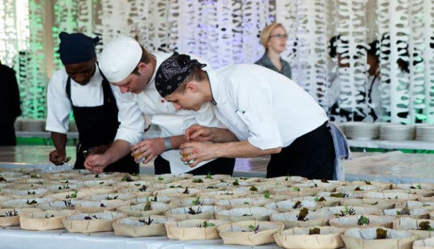 Plating food at the Eat Out Restaurant Awards