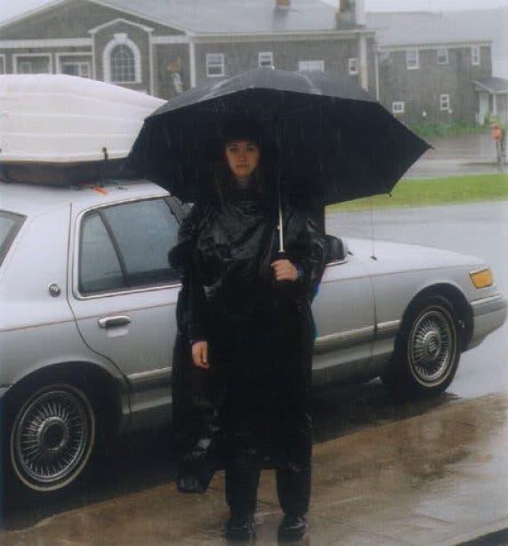 person in the rain