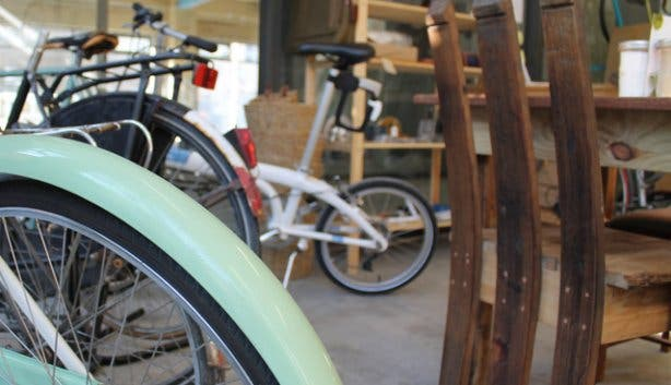 Restored vintage bicycles at Starlings Coffee House