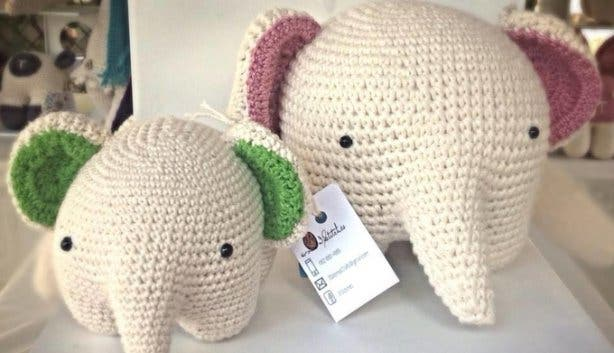 Knitted animals Made in the Cape market
