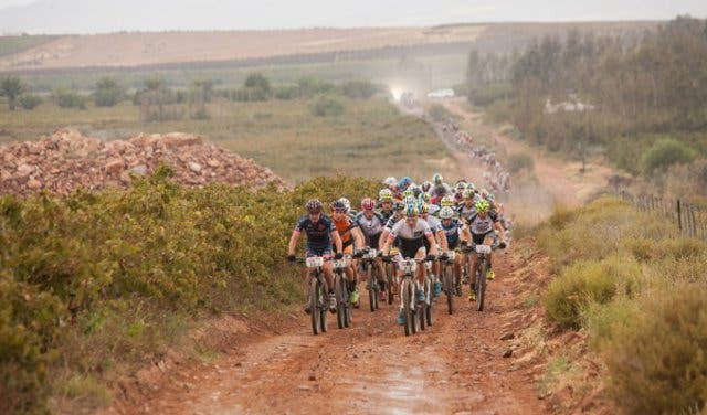 Cape Epic riders on a gravel road