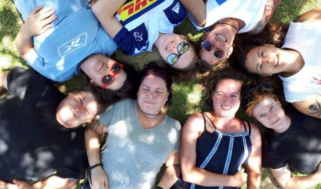Fun group having lesbian
