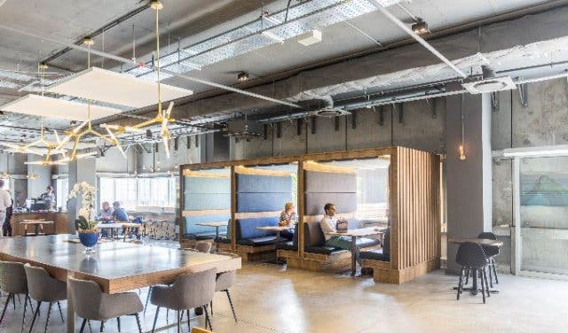 high tech and flexible shared office space with rooftop bar