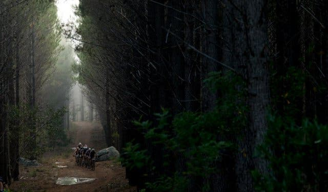 Cape Epic riders in a forrest